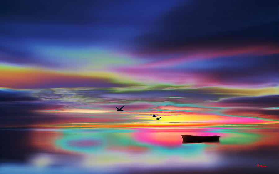 Water Digital Art - Boat Sunset by Gregory Murray