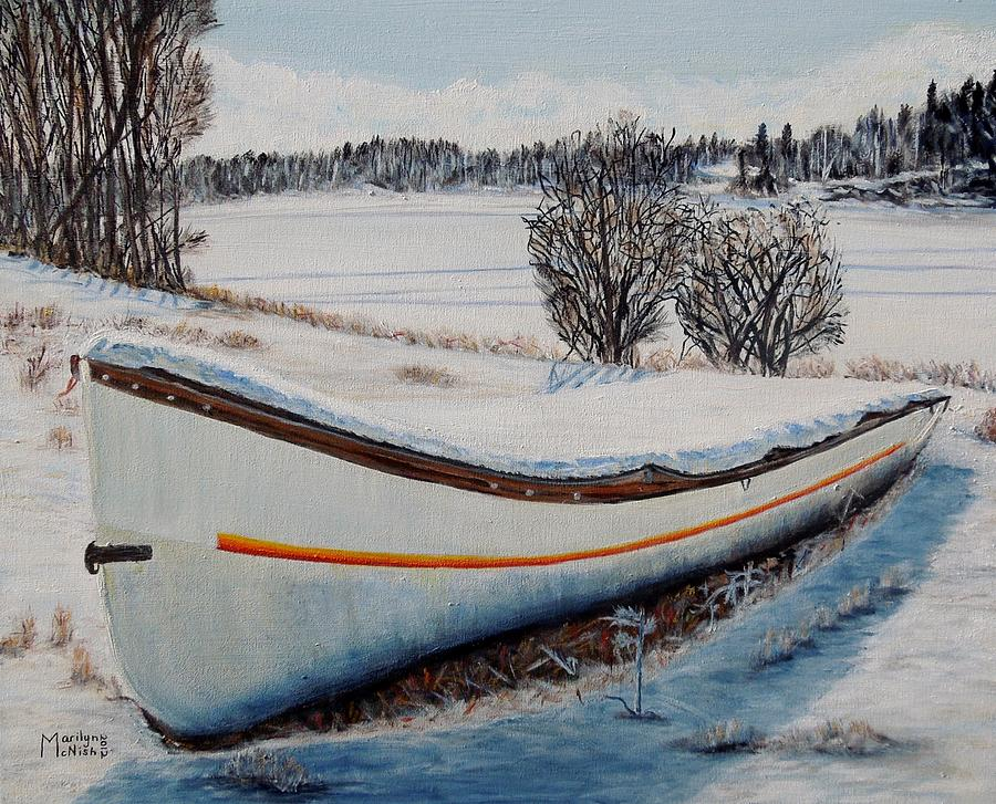 Boat Painting - Boat Under Snow by Marilyn  McNish
