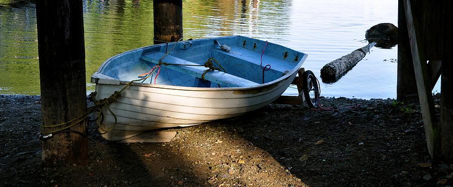 Boat Photograph - Boat Under the Bridge by Caroline Reyes-Loughrey