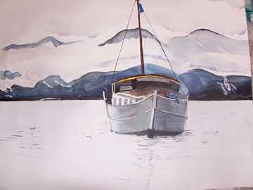 Boat With Cloud Cover Painting by Michelle Fergenson