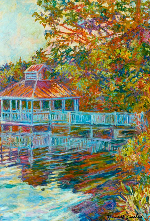 Mountain Lake Painting - Boathouse At Mountain Lake by Kendall Kessler