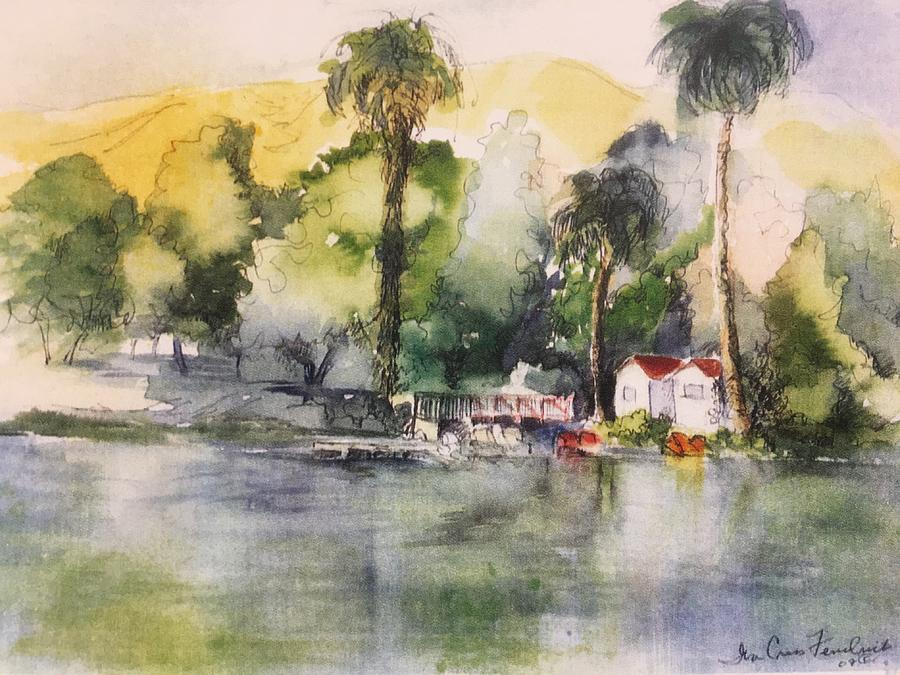 Waterscape Mixed Media - Boathouse by Iva Fendrick
