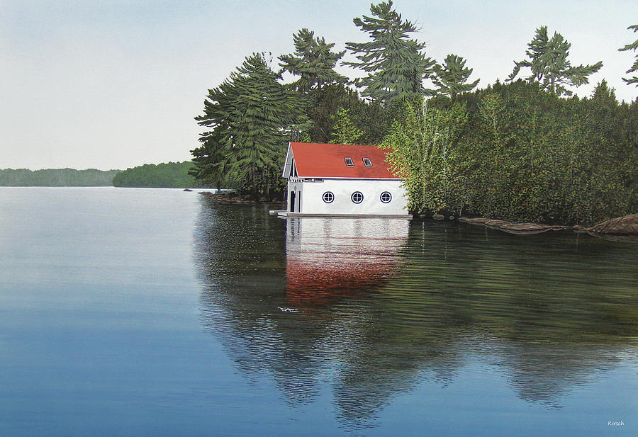 Canoe Painting - Boathouse by Kenneth M  Kirsch