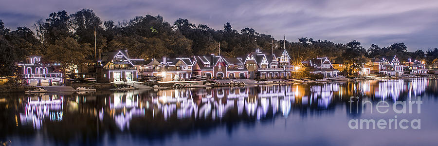 Boathouse Row Photograph - Boathouse Row Night Blue by Stacey Granger