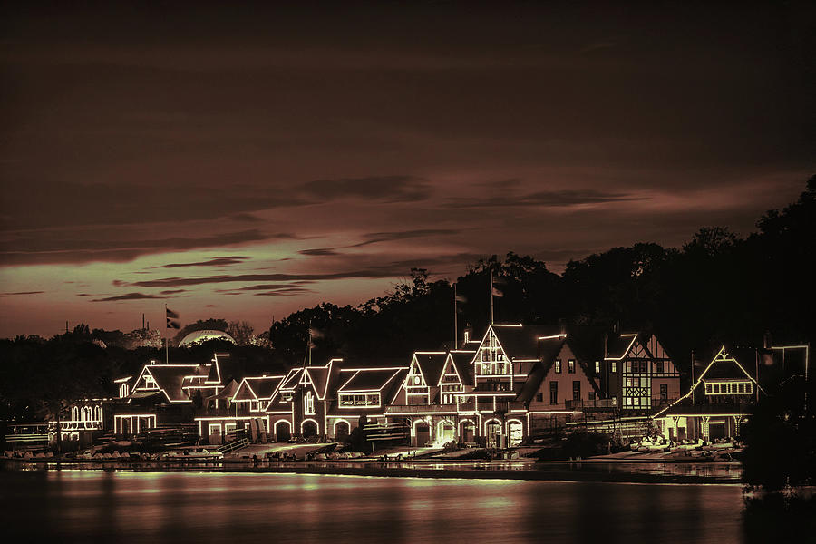Boathouse Row Philadelphia Pa Night Retro by Terry DeLuco