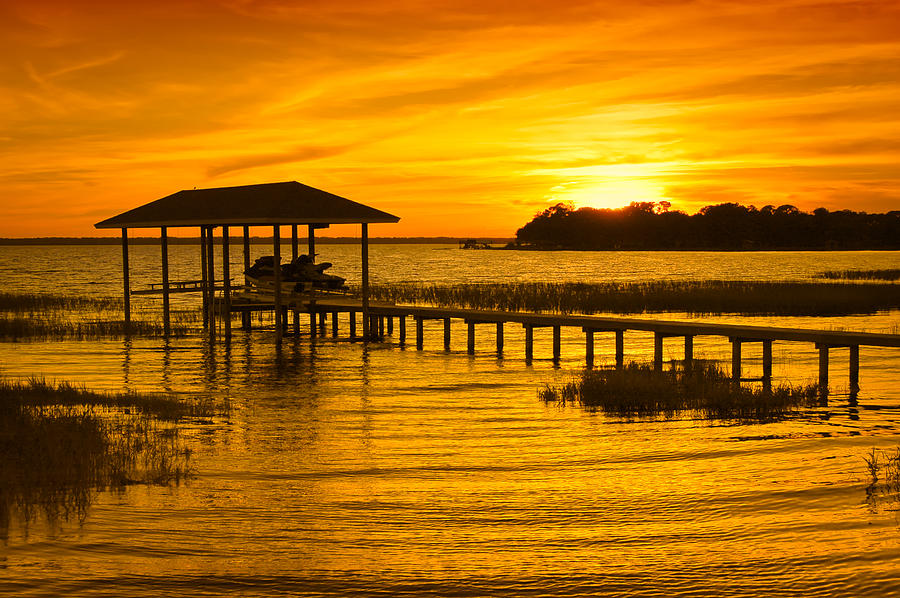 Sunset Photograph - Boathouse Sunset by Rich Leighton
