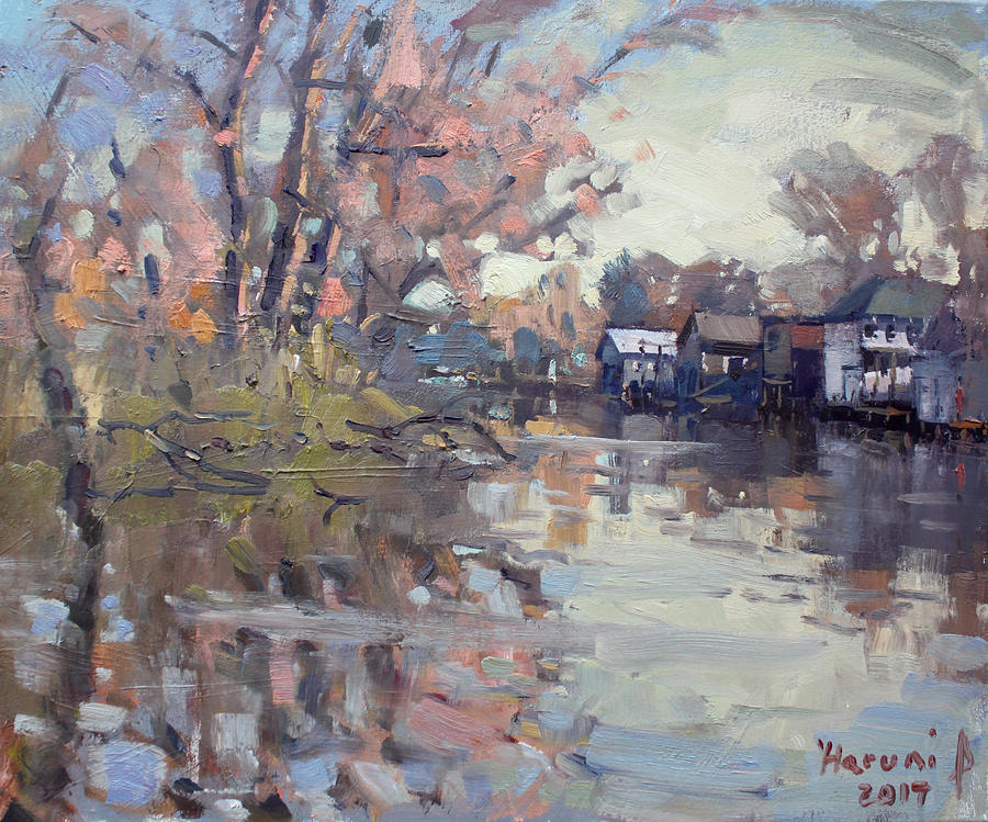 Boathouses Painting - Boathouses at Eastern Park and Kayak Launch  by Ylli Haruni