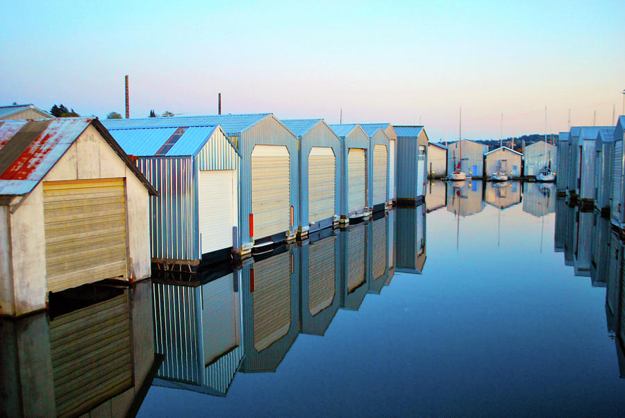 Seascape Photograph - Boathouses by Brian OKelly
