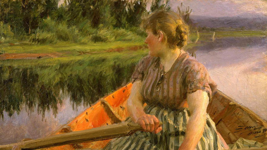 Anders Zorn Painting - Boating by MotionAge Designs