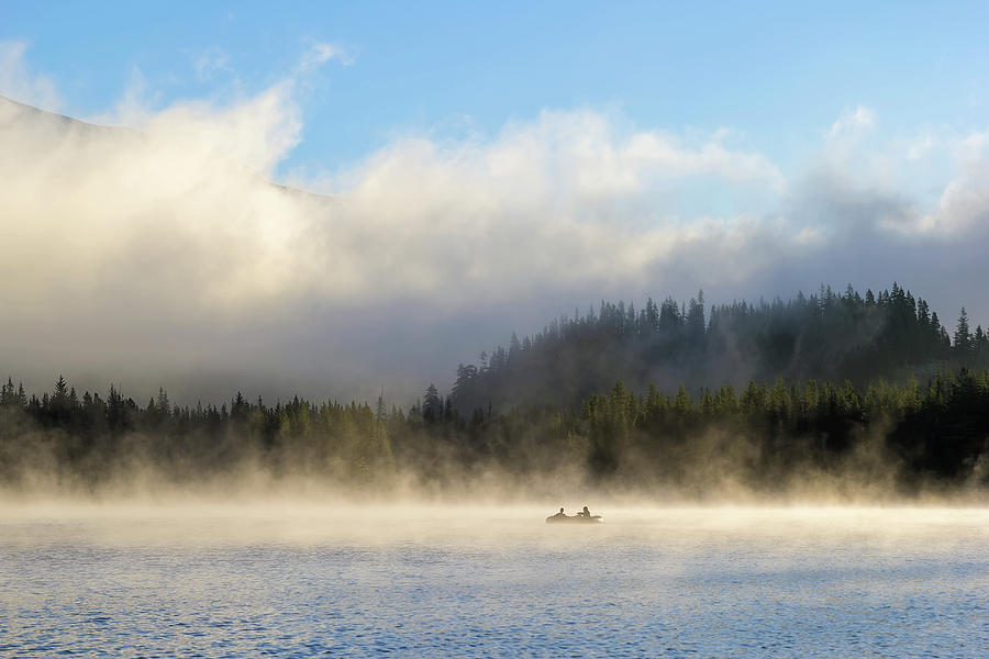 Trillium Lake Photograph - Boating At Trillium Lake One Foggy Morning by David Gn