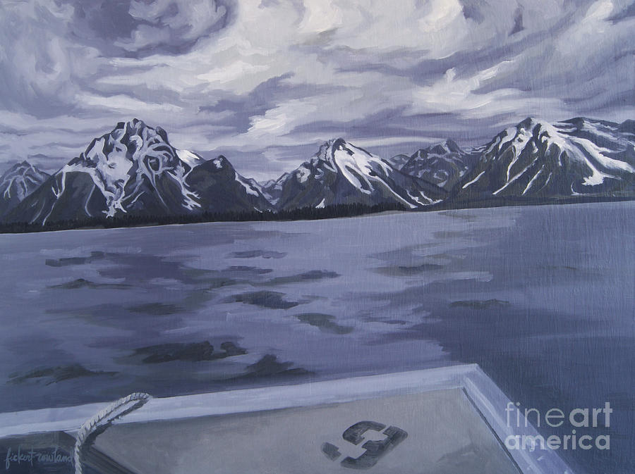Landscape Painting - Boating Jenny Lake, Grand Tetons by Erin Fickert-Rowland