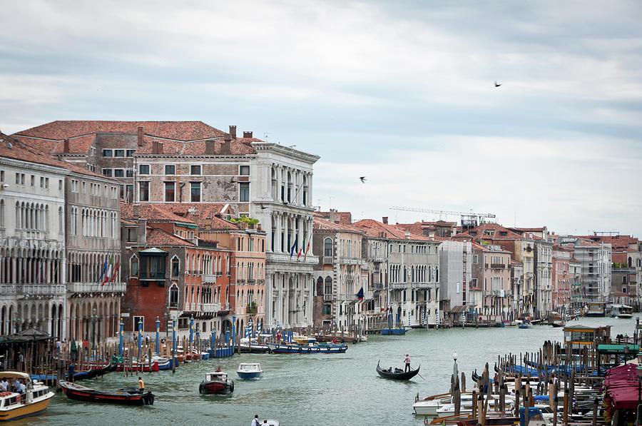 Horizontal Photograph - Boats And Gondolas In Grand Canal by AlexandraR