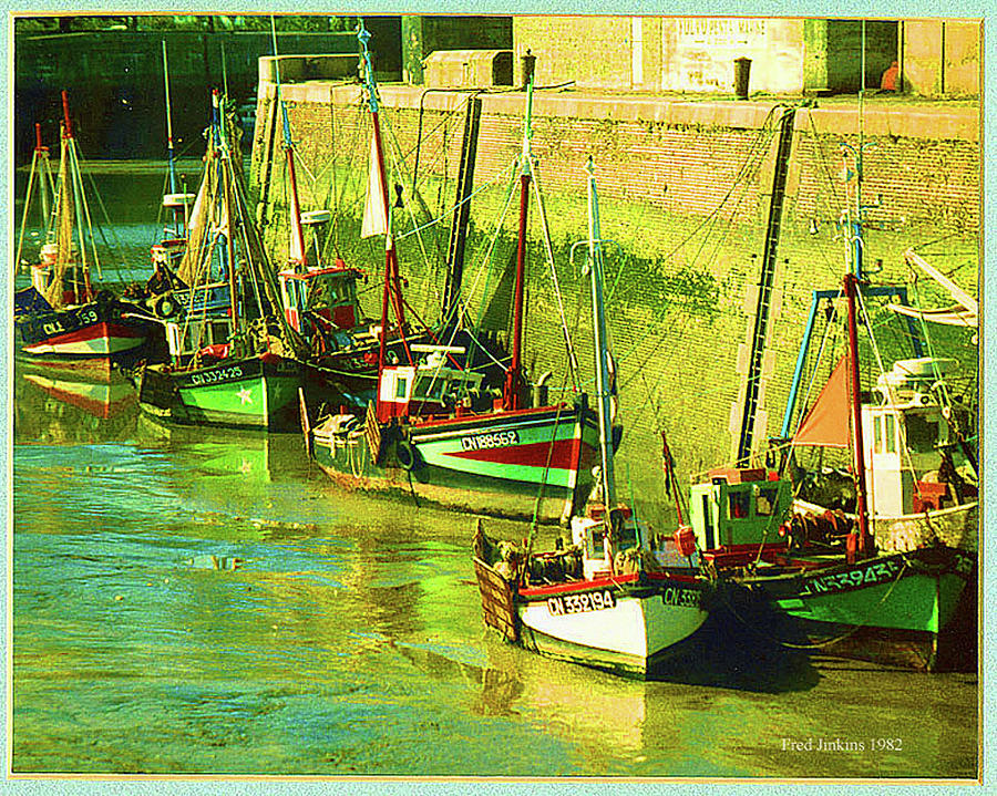 France Painting - Boats At Honfluer France by Fred Jinkins
