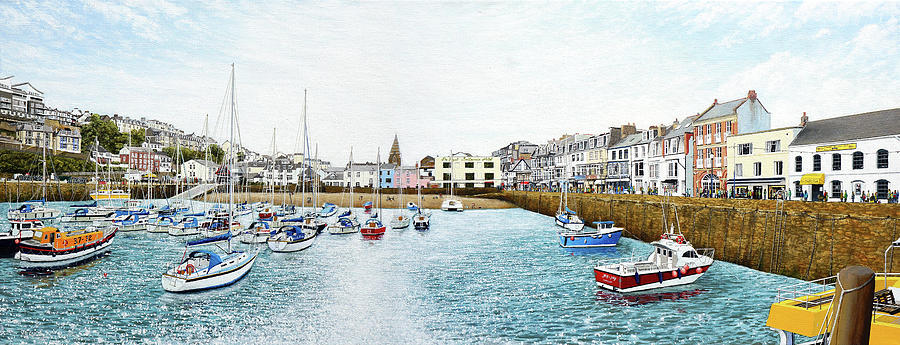 Boats At Ilfracombe Harbour Painting by Mark Woollacott