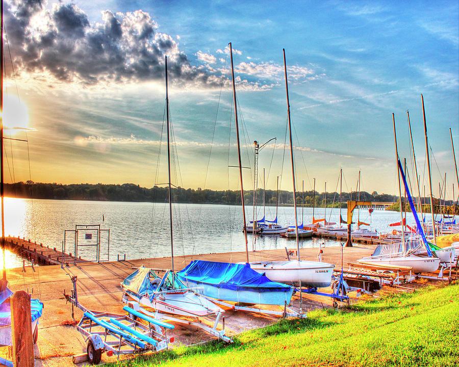 Sail Boats Photograph - Boats At Lake Decatur by Ann Higgens