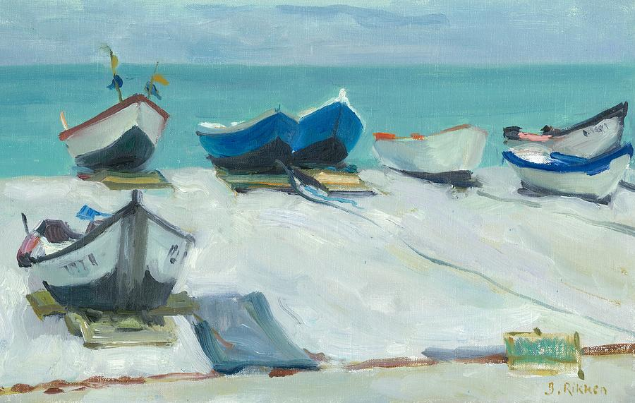 Seascape Painting - Fishing Boats At Etretat by Ben Rikken