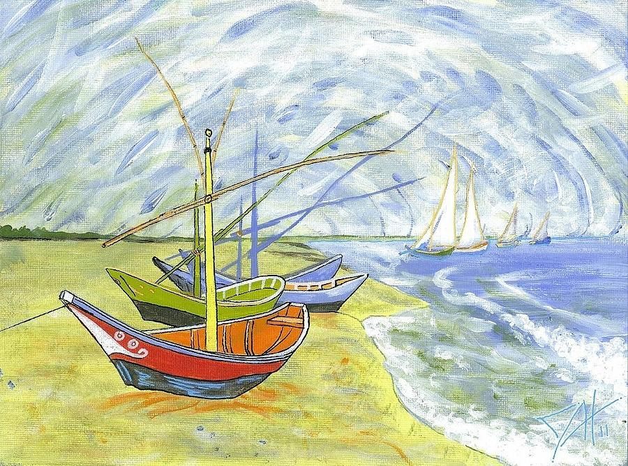 Landscape Painting - Boats At St. Maries by Dave Herrling