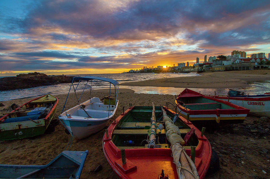 Boats At Sunset, Bahia, Brazil by Venetia Featherstone-Witty