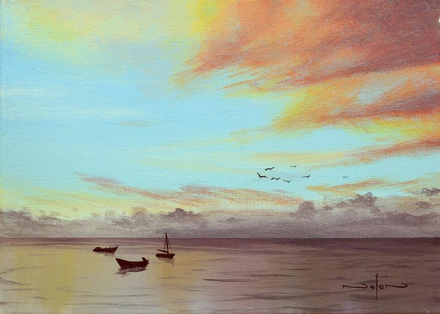 Acrylic Painting - Boats At Sunset by Nolan Clark