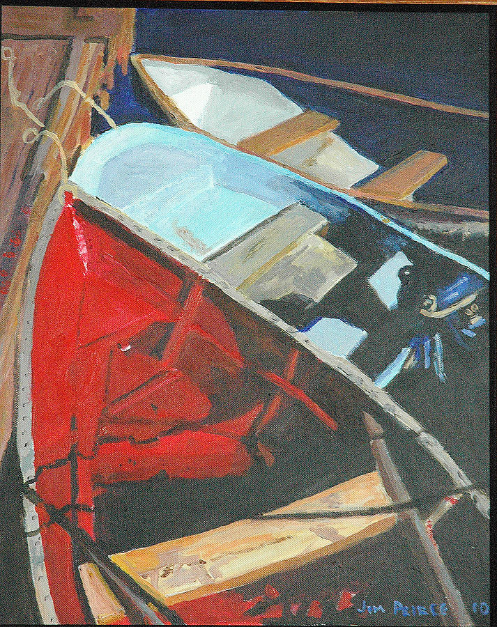Acrylic Painting - Boats At The Dock by Jim Peirce
