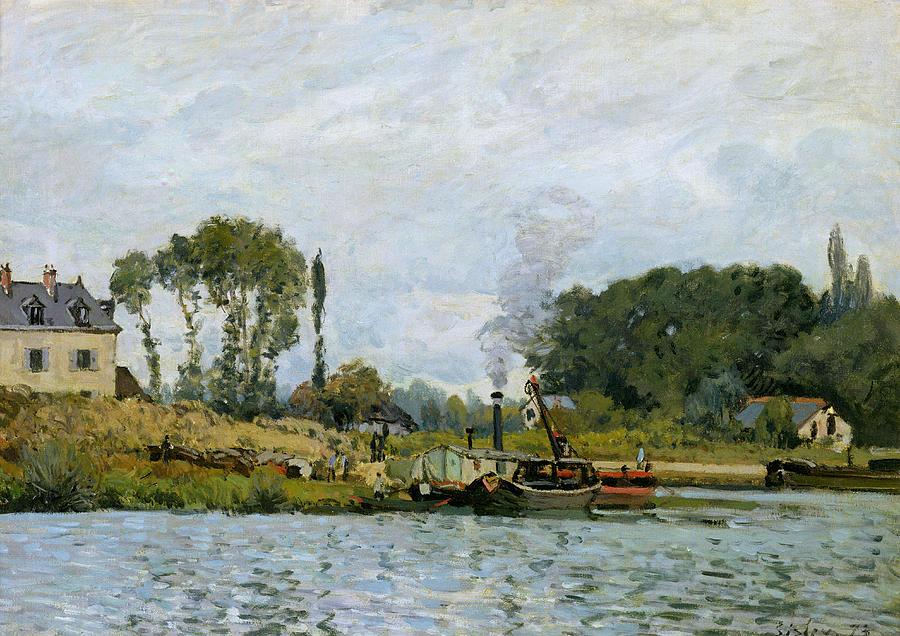 Boats At The Lock At Bougival Painting - Boats At The Lock At Bougival by Alfred Sisley