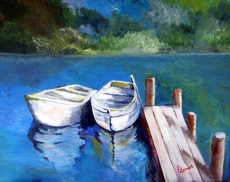 Landscape Painting - Boats Docked by Julie Lamons