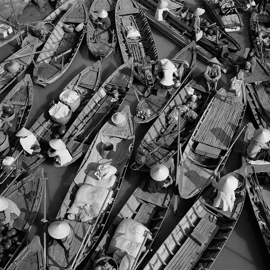 Aerial Images Photograph - Boats, Hoi An, Vietnam by Huy Lam