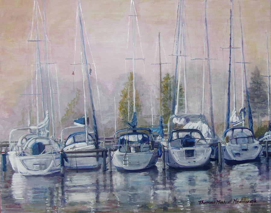 Marina Painting - Boats In A Row by Thomas Michael Meddaugh