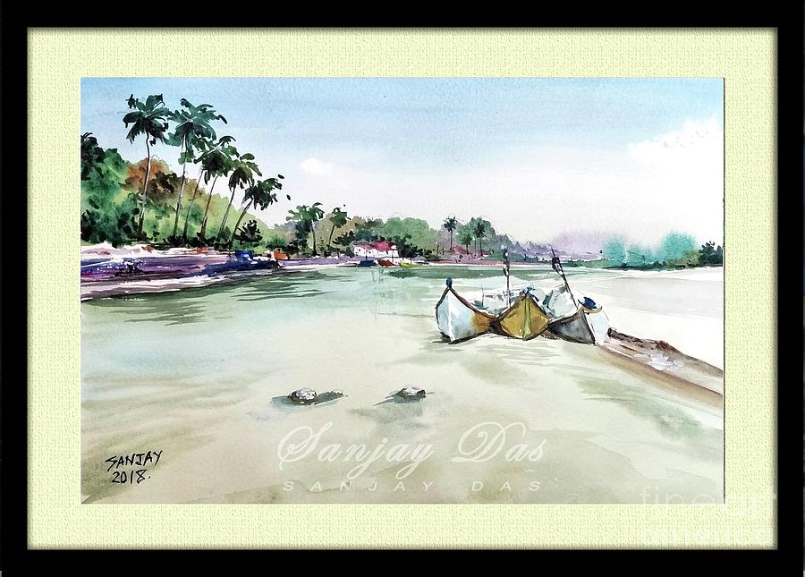 Watercolor Painting - Boats In Beach by Sanjay Das