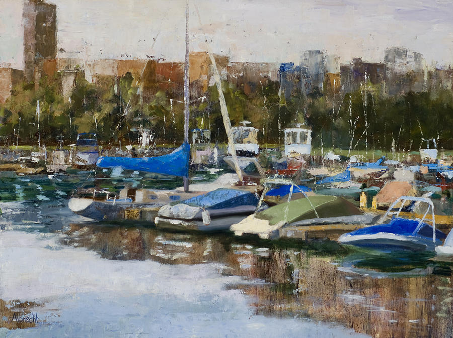 Cityscape Painting - Boats In Montrose Harbor by Nancy Albrecht