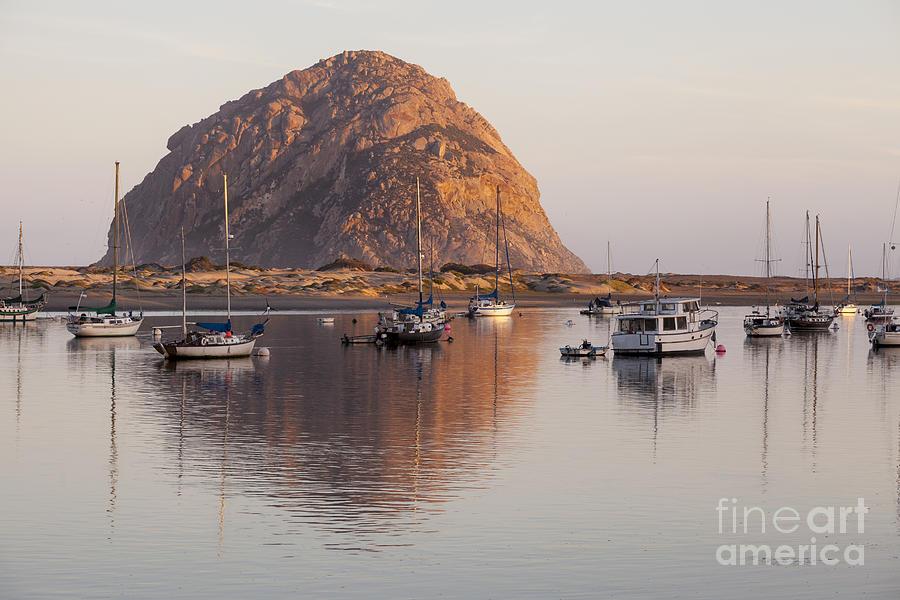 Morro Rock Photograph - Boats in Morro Rock Reflection by Sharon Foelz