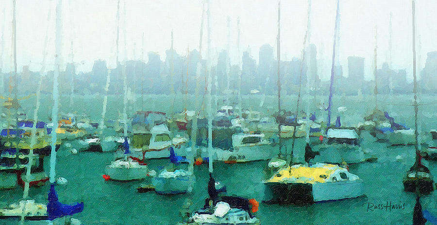 Boats Painting - Boats In The Bay by Russ Harris