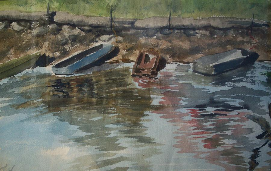 Boats Painting - Boats by Karen Thompson