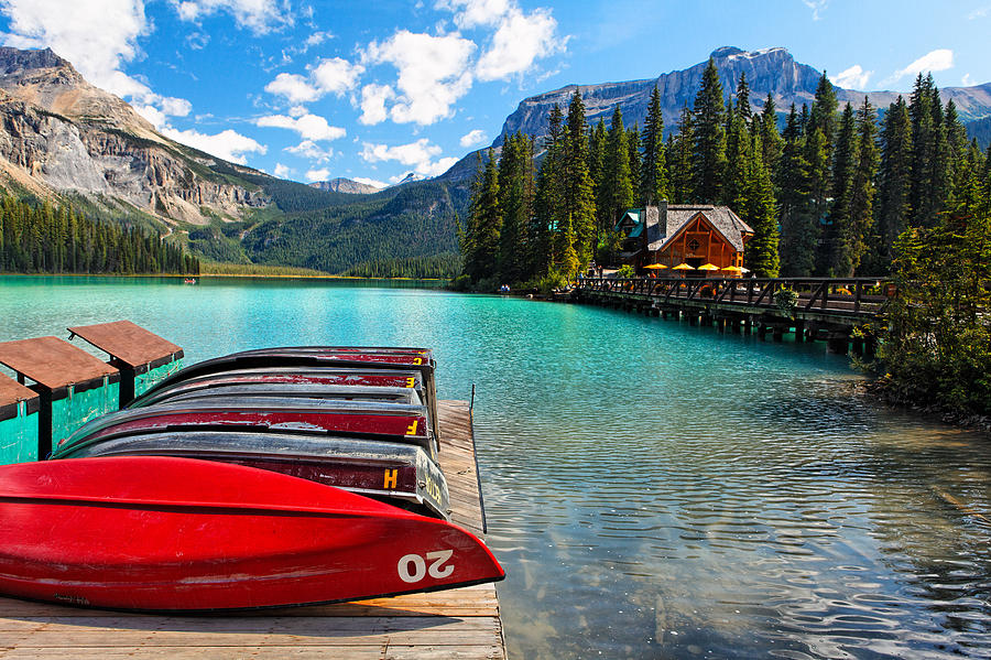 British Columbia Photograph - Boats On A Dock  Emerald Lake Canada by George Oze