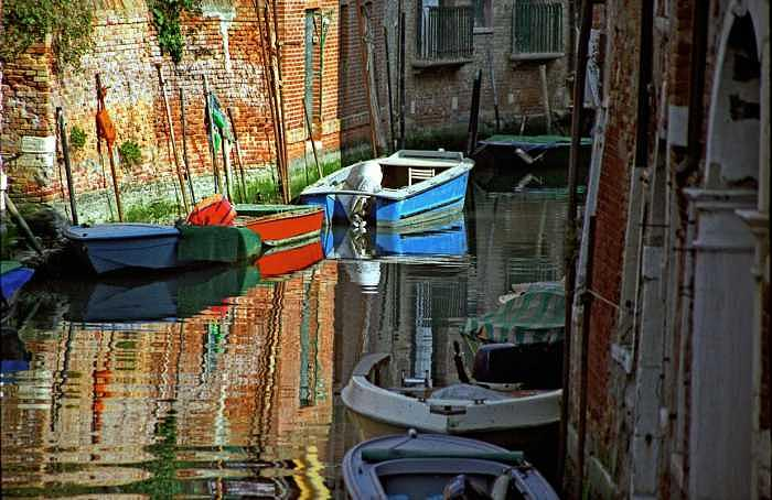 Venice Photograph - Boats On Canal In Venice by