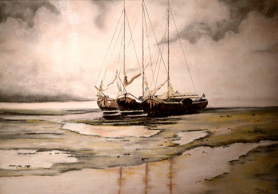 Pastel Painting - Boats On Dutch Seashore by Dick Stolp