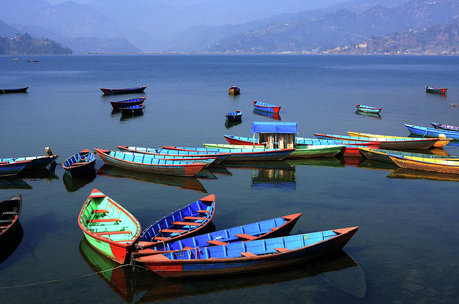 Nepal Photograph - Boats On Phewa Lake, Pokhara, Nepal by Aidan Moran