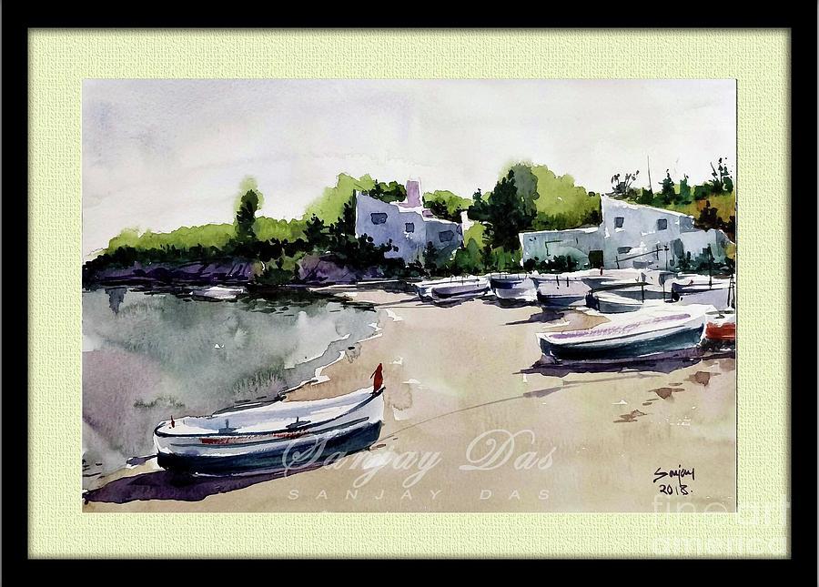 Watercolor Painting - Boats by Sanjay Das