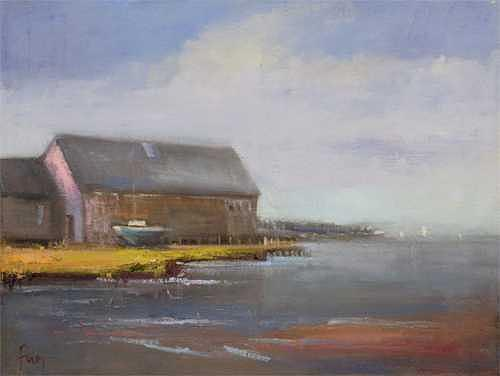 Boatyard Painting by Elle Foley