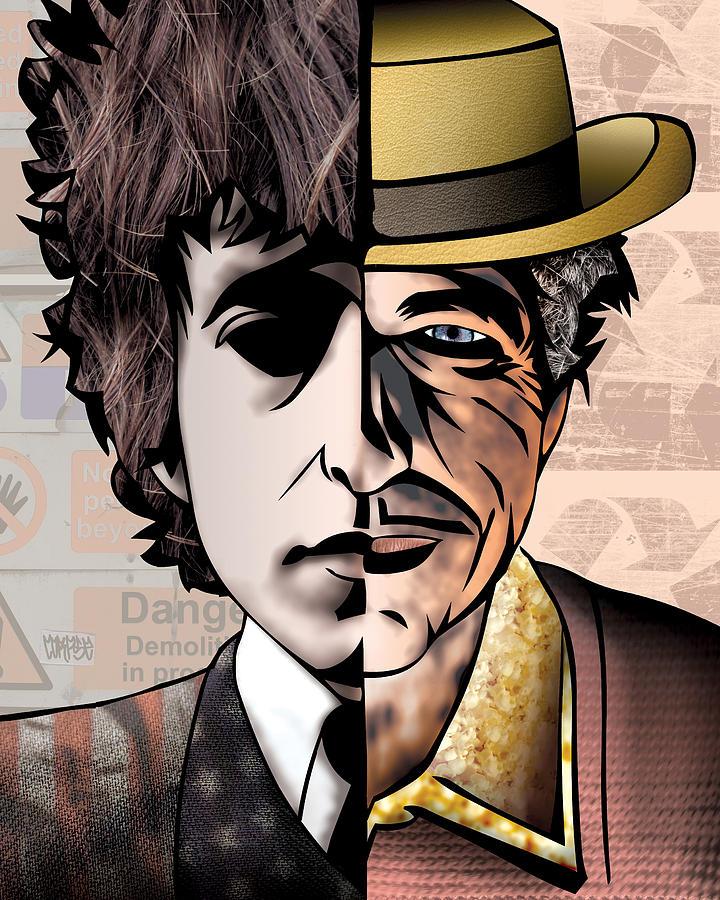 Fine Art America Digital Art - Bob Dylan - Man vs. Myth by Sam Kirk