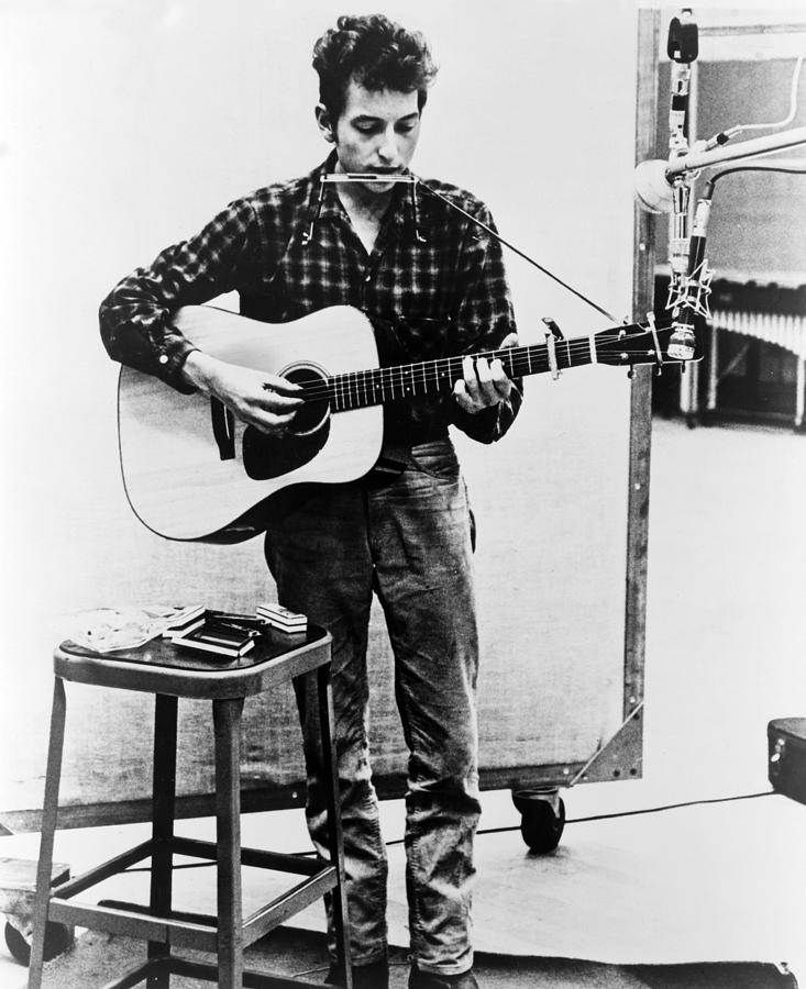 History Photograph - Bob Dylan B. 1941 Playing Guitar by Everett