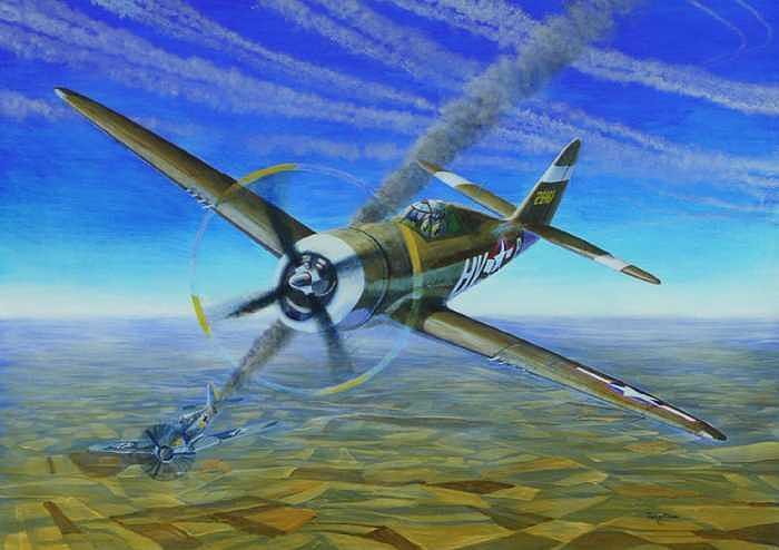 1943 Painting - Bob Johnsons Thunderbolt by Scott Robertson