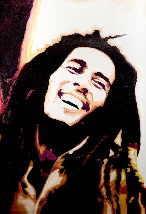 Bob Painting - Bob Marley - Orange by Jocelyn Passeron