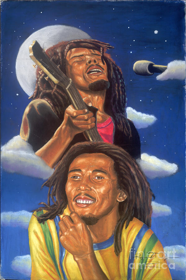 Musician Painting - Bob Marley A Reflection Of  His Music by Sandra Pryer
