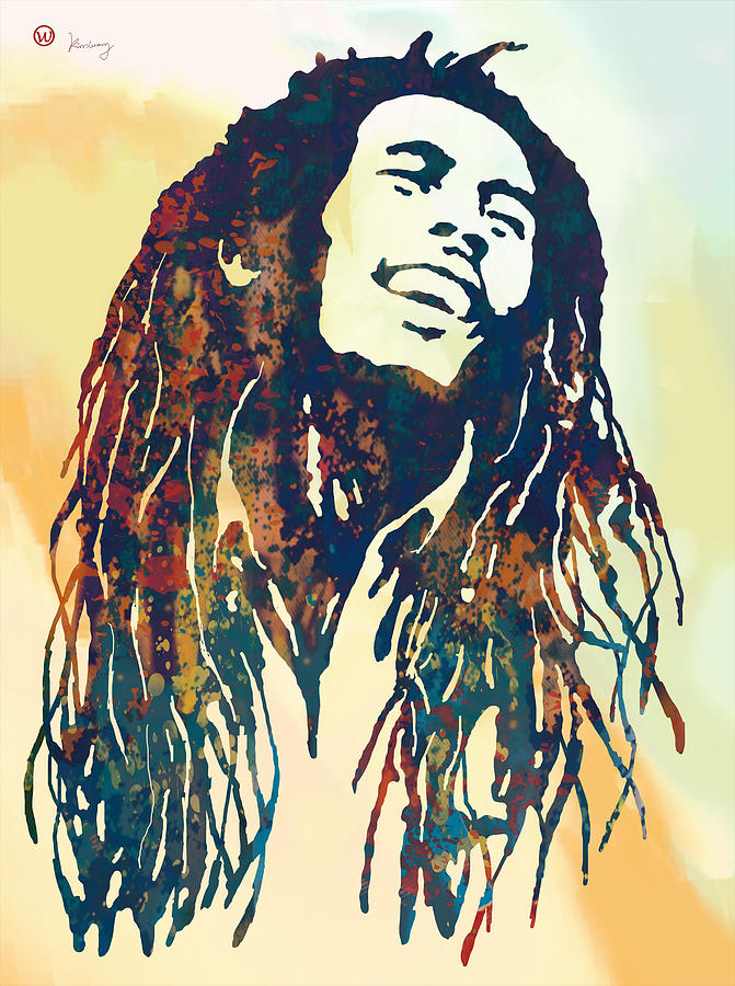 Portraits Drawing - Bob Marley Art Stylised Pop Poser by Kim Wang