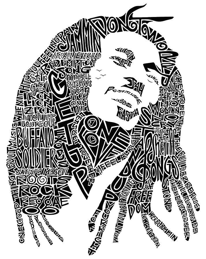 Bob Marley Drawing - Bob Marley Black And White Word Portrait by Inkpaint Wordplay