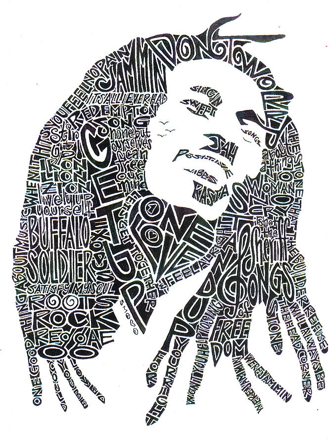 Bob Marley Drawing - Bob Marley Black And White Word Portrait by Kato Smock