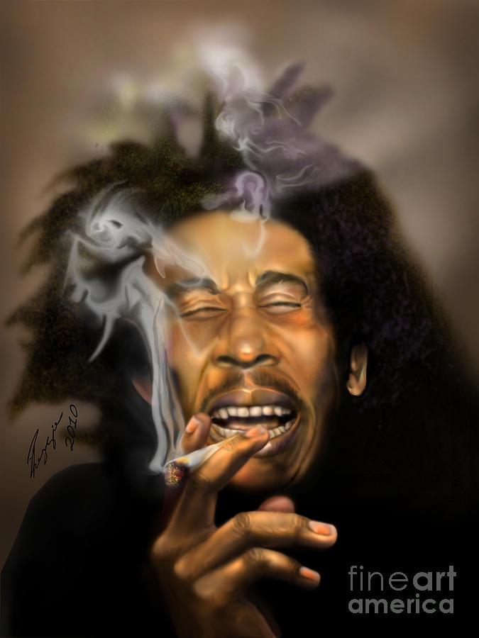 Bob Marley Painting - Bob Marley-burning Lights 3 by Reggie Duffie