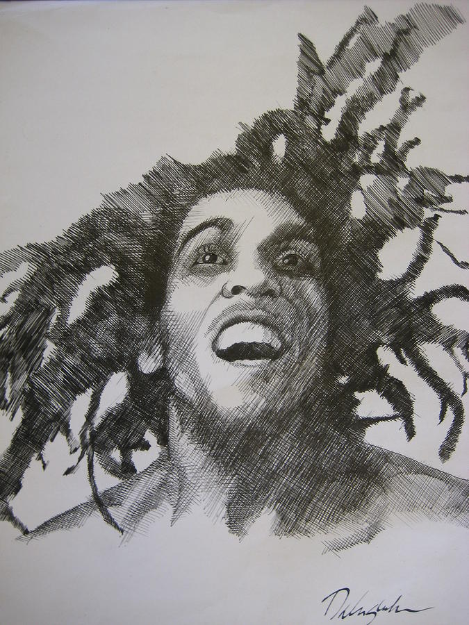 Famous Star Drawing - Bob Marley by Dalushaka Mugwana