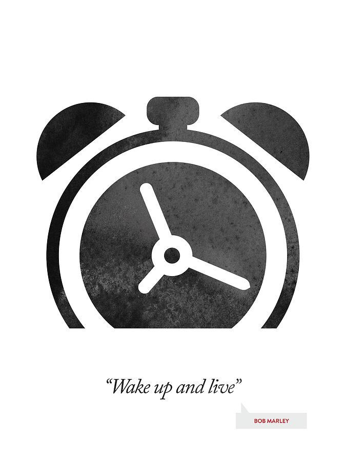 Bob Marley Digital Art - Bob Marley Quote - Wake Up And Live by Aged Pixel